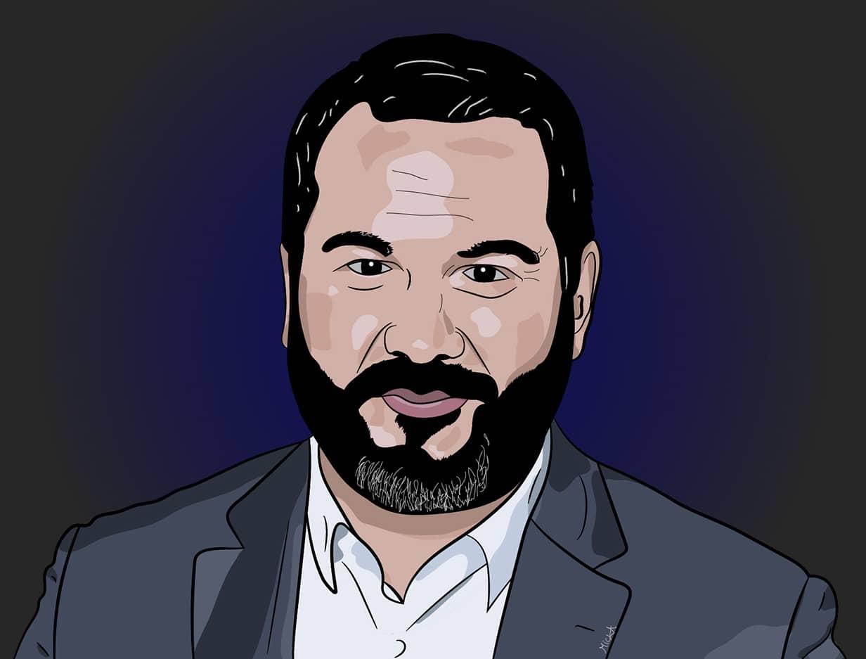Portrait de Bruce Toussaint réalisé par Mickaël Petit - graphiste professionnel